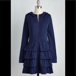 Adorable ModCloth navy tiered hoodie with pockets!